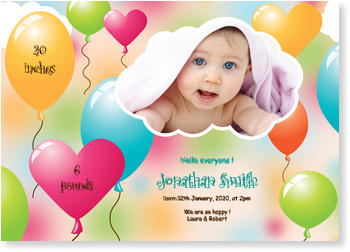 Baby Photo Cards – a fab presentation of your little one, Colourful Balloons