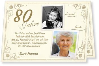 Schön Einladungskarten 80. Geburtstag, Vintage