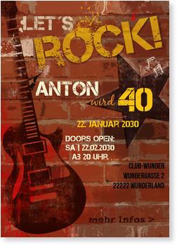 Einladungskarten 40. Geburtstag, Rocku0027n Roll