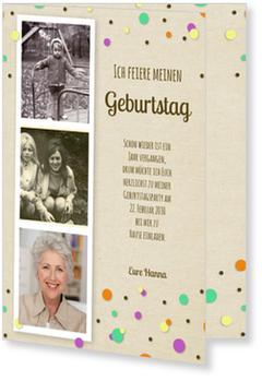 Einladungskarten 90. Geburtstag, Konfetti