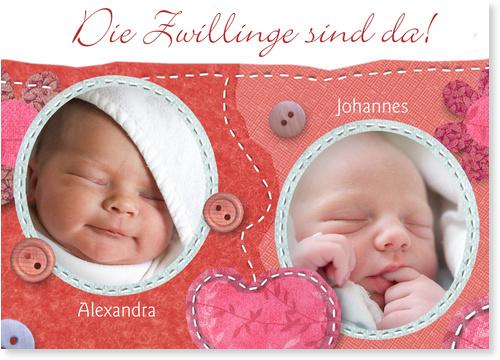 Geburtskarten Zwillinge / Babykarten Zwillinge   Gratis Musterkarten und Versand