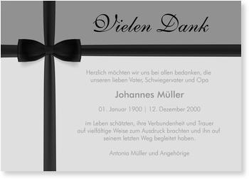 Danksagungskarten Trauer, Schwarze Schleife