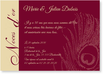 Carte Anniversaire De Mariage 50 Ans.Carte Invitation De Noces D Or A Personnaliser Bonnyprints Fr