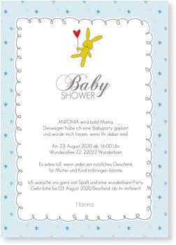 Einladungskarten Babyparty, Babyshower Häschen   Blau