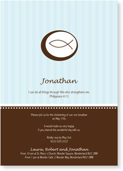 Christening Invitations – personalise with pictures, Little Fish in Blue