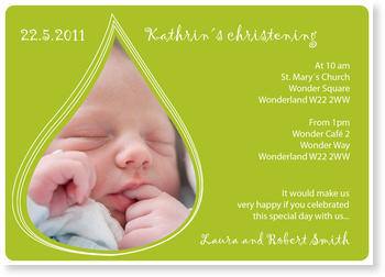 Christening Invitations – personalise with pictures, Drop