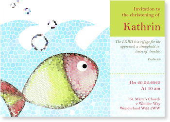 Christening Invitations – personalise with pictures, Mosaique Fish