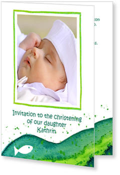Christening Invitations – personalise with pictures, Green Wave