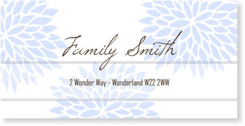 Address Labels to personalise your post, Blossom Label in Blue