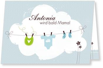 Einladungskarten Babyparty, Wäscheleine   Blau