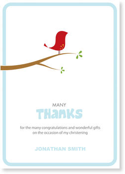 Christening Thank You cards – express your gratitude, Birdie in Blue