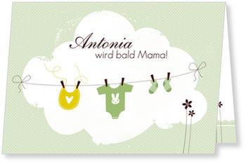 Einladungskarten Babyparty, Wäscheleine   Grün