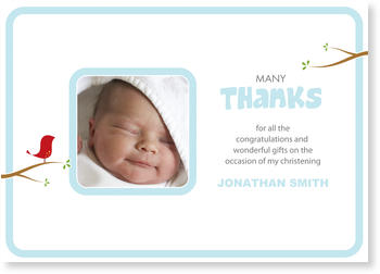 Christening Thank You cards – express your gratitude, Birdie - Thank you in Blue