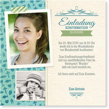 Einladungskarten Konfirmation, Collage in Blau