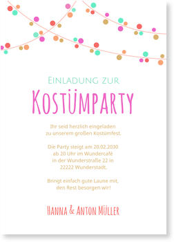 Einladungskarten Party, Kostümparty Girlande - Stimmungsvoll