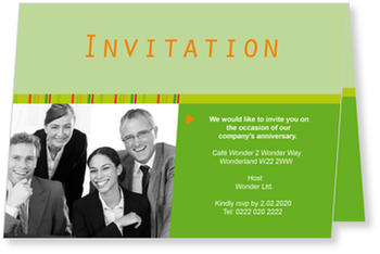 Formal and personal Business Invitations, Green Invitation