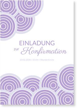 Einladungskarten Konfirmation, Wolkenreich in Lila