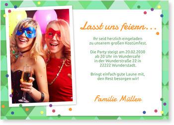 Einladungskarten Fasnacht, Kostümparty   Konfettiparty In Grün