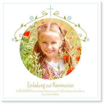 Einladungskarten Kommunion, Blütengirlande