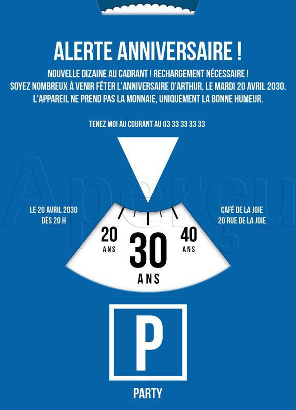 L'heureux-dateur Invitations Anniversaire 30 ans à personnaliser   bonnyprints.fr