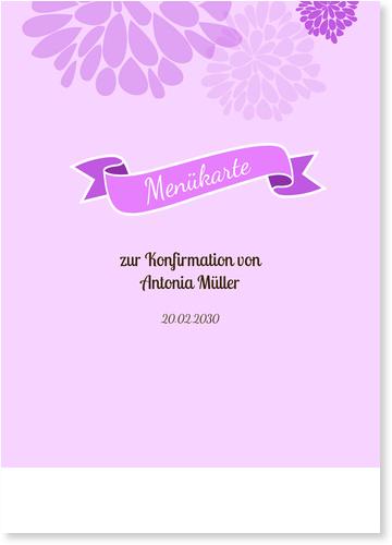 Menükarten Konfirmation / Menükarten Konfirmation | Gratis Musterkarten und Versand