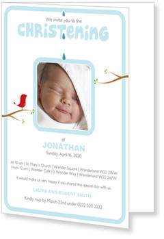 Christening Invitations – personalise with pictures, Birdie`s Christening  - Blue