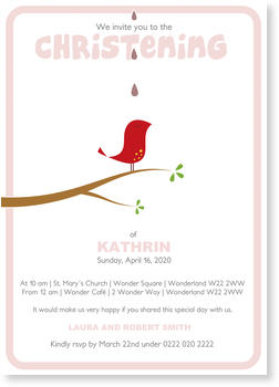 Christening Invitations – personalise with pictures, Birdie`s Christening