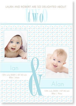 Twin Birth Announcement Cards for double joy, Double Trouble Blue