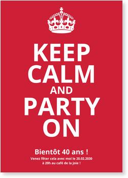 Keep Calm 40 Invitations Anniversaire 40 Ans Personnalisables