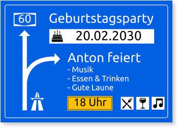 Einladungskarten 60. Geburtstag, Autobahnschild