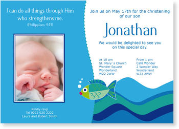Christening Invitations – personalise with pictures, Colourful Fish in Blue River