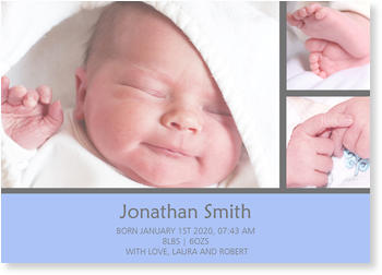 Photo Birth Announcements for Boys – share the news, Photostrip in Blue