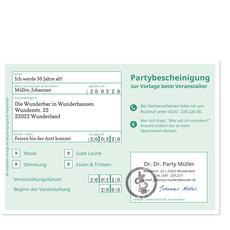 Partybescheinigung in Grün