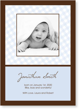 Baby Photo Cards – a fab presentation of your little one,  Vichy Blue