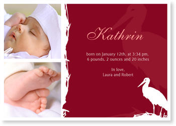 Baby Photo Cards – a fab presentation of your little one,  Baby Stork Red