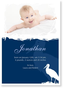 Photo Birth Announcements for Boys – share the news,  Baby Stork Blue