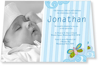 Christening Invitations – personalise with pictures, Butterfly Blue
