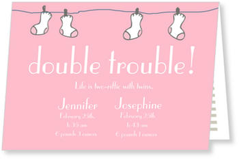 Twin Birth Announcement Cards for double joy, Double Trouble Washing Line Pink