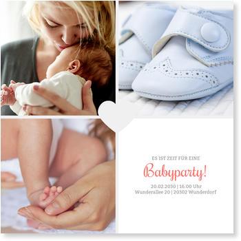 Einladungskarten Babyparty, Herzchenparty