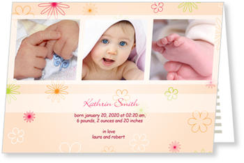 Baby Photo Cards – a fab presentation of your little one, Delicate Flowers for Girls