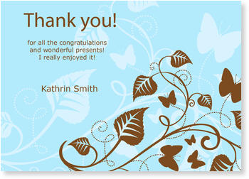 Personalised Thank You Cards, thank you for, Thank You - Floral Blue