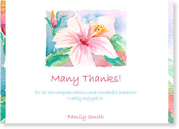 Personalised Thank You Cards, thank you for, Thank You - Hibiscus