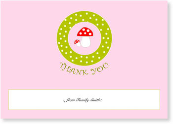 Personalised Thank You Cards, thank you for, Toad Stool