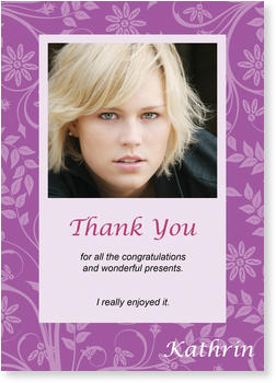 Personalised Thank You Cards, thank you for, Thank You in Lilac