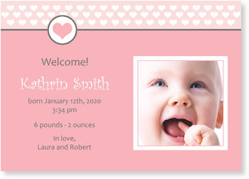 Baby Photo Cards – a fab presentation of your little one, Pink Heart