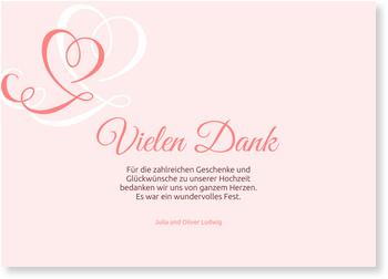 Dankeskarten Hochzeit, Zarte Herzen