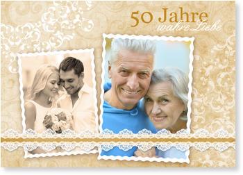 Einladungskarten Goldene Hochzeit, Wahre Liebe In Gold