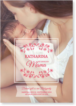 Einladungskarten Babyparty, Kleine Zweige
