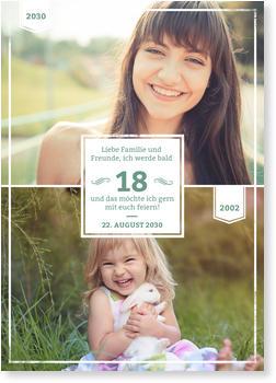 einladungskarten 18. geburtstag | lieferzeit 1-2 werktage, Einladung