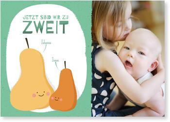 Fotokarten Baby Mit Geschwistern, Zwei Kleine Birnen